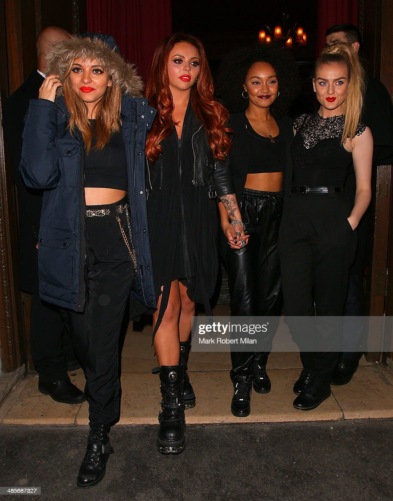 Jade Thirwall, <a gi-track='captionPersonalityLinkClicked' href=/galleries/search?phrase=Jesy+Nelson+-+Little+Mix&family=editorial&specificpeople=8378192 ng-click='$event.stopPropagation()'>Jesy Nelson</a>, <a gi-track='captionPersonalityLinkClicked' href=/galleries/search?phrase=Leigh-Anne+Pinnock&family=editorial&specificpeople=8378207 ng-click='$event.stopPropagation()'>Leigh-Anne Pinnock</a> and <a gi-track='captionPersonalityLinkClicked' href=/galleries/search?phrase=Perrie+Edwards&family=editorial&specificpeople=8378323 ng-click='$event.stopPropagation()'>Perrie Edwards</a> of Little Mix at Steam and Rye bar and restaurant on April 19, 2014 in London, England.