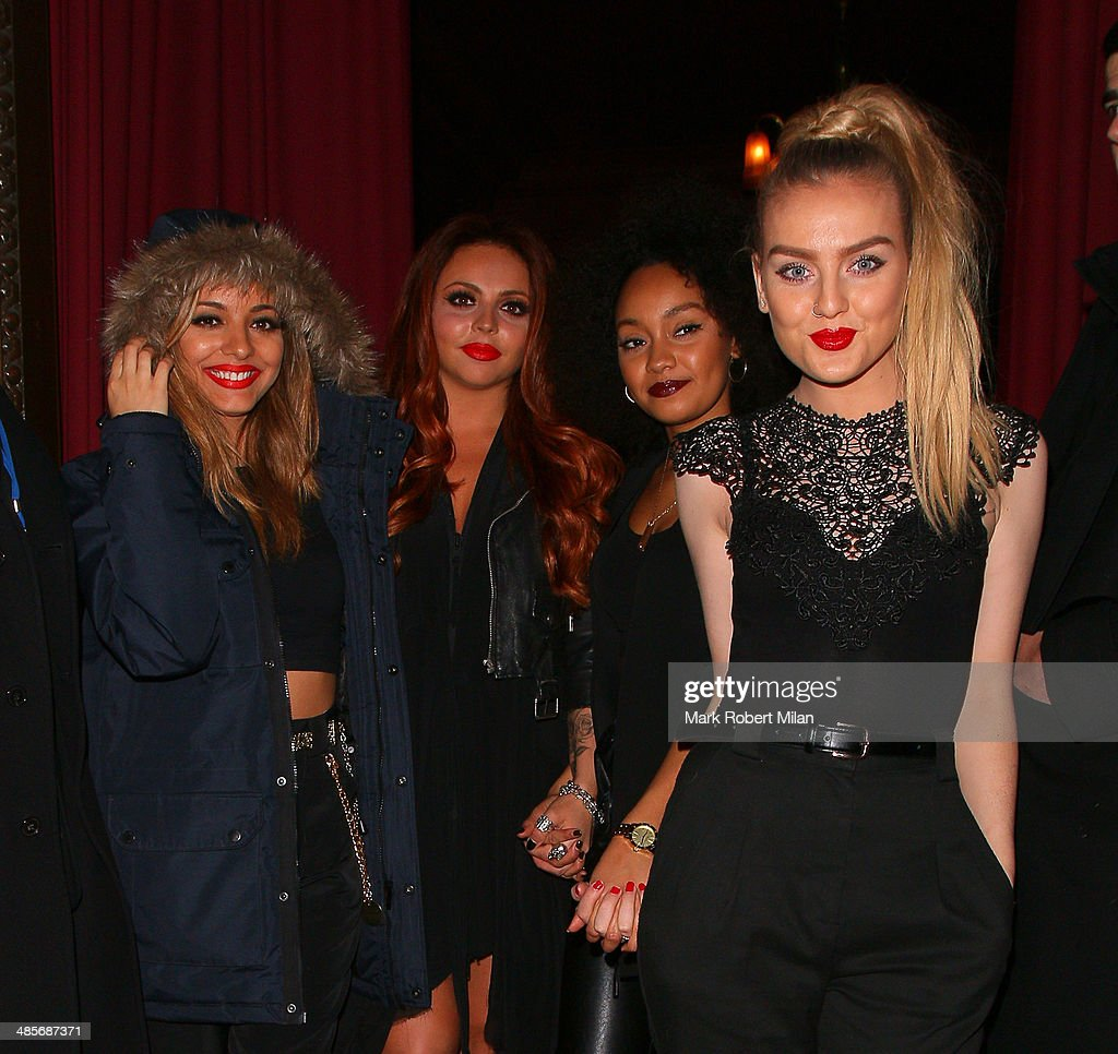 Jade Thirwall, Jesy Nelson, Leigh-Anne Pinnock and Perrie Edwards of Little Mix at Steam and Rye bar and restaurant on April 19, 2014 in London, England.