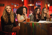 Jade Thirwell LeighAnne Pinnock Jessy Nelson Perrie Edwards of Little Mix during a live broadcast of 'TFI Friday' on November 20 2015 in London...