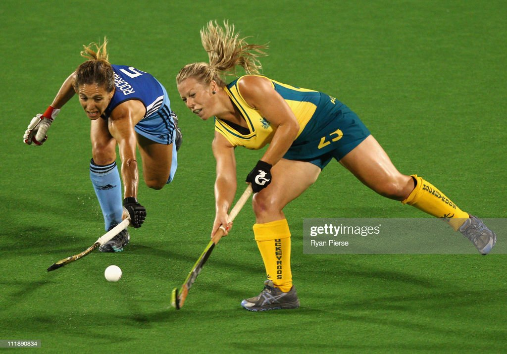 Jade Warrender Of Australia Competes Against Ana Macarena Rodriguez Perez Argentina During Game Three