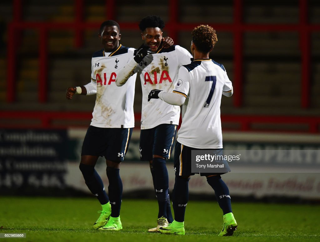 Jaden Brown of Tottenham Hotspur (centre) celebrates scoring their third goal during the Premier League 2 match between Tottenham Hotspur and Reading at The Lamex Stadium on March 13, 2017 in Stevenage, England.