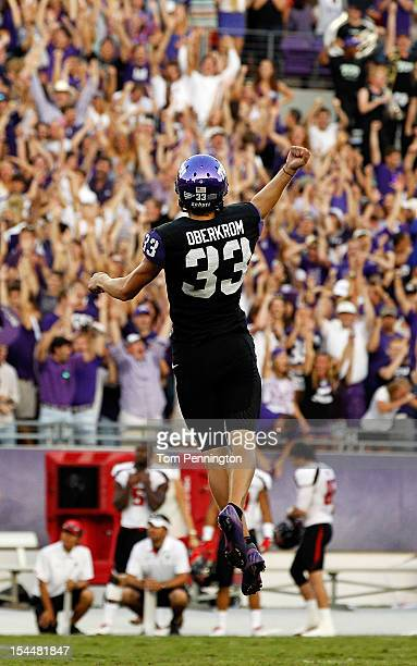 Jaden Oberkrom of the TCU Horned Frogs celebrates after kicking one of six school record setting field goals against the Texas Tech Red Raiders at...