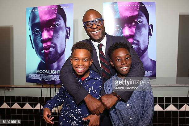 Jaden Piner Barry Jenkins and Alex Hibbert attend'MOONLIGHT' Cast Crew Hometown Premiere in Miami at Colony Theater on October 15 2016 in Miami Beach...