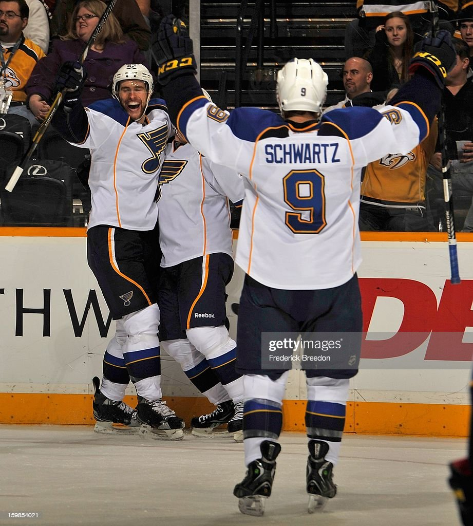 Jaden Schwartz #9 congratulates teammate <a gi-track='captionPersonalityLinkClicked' href=/galleries/search?phrase=Alex+Pietrangelo&family=editorial&specificpeople=4072229 ng-click='$event.stopPropagation()'>Alex Pietrangelo</a> #27 on scoring the game tying goal against the Nashville Predators at the Bridgestone Arena on January 21, 2013 in Nashville, Tennessee.