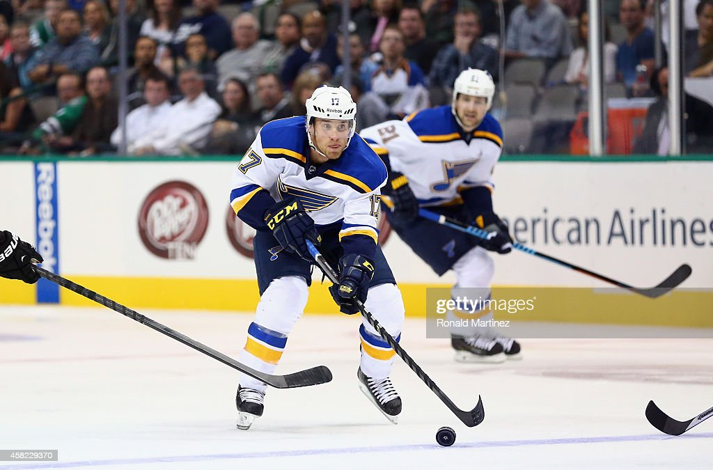 e2c436368fd ... Jaden Schwartz 17 of the St. Louis Blues at American Airlines Center on  October ...