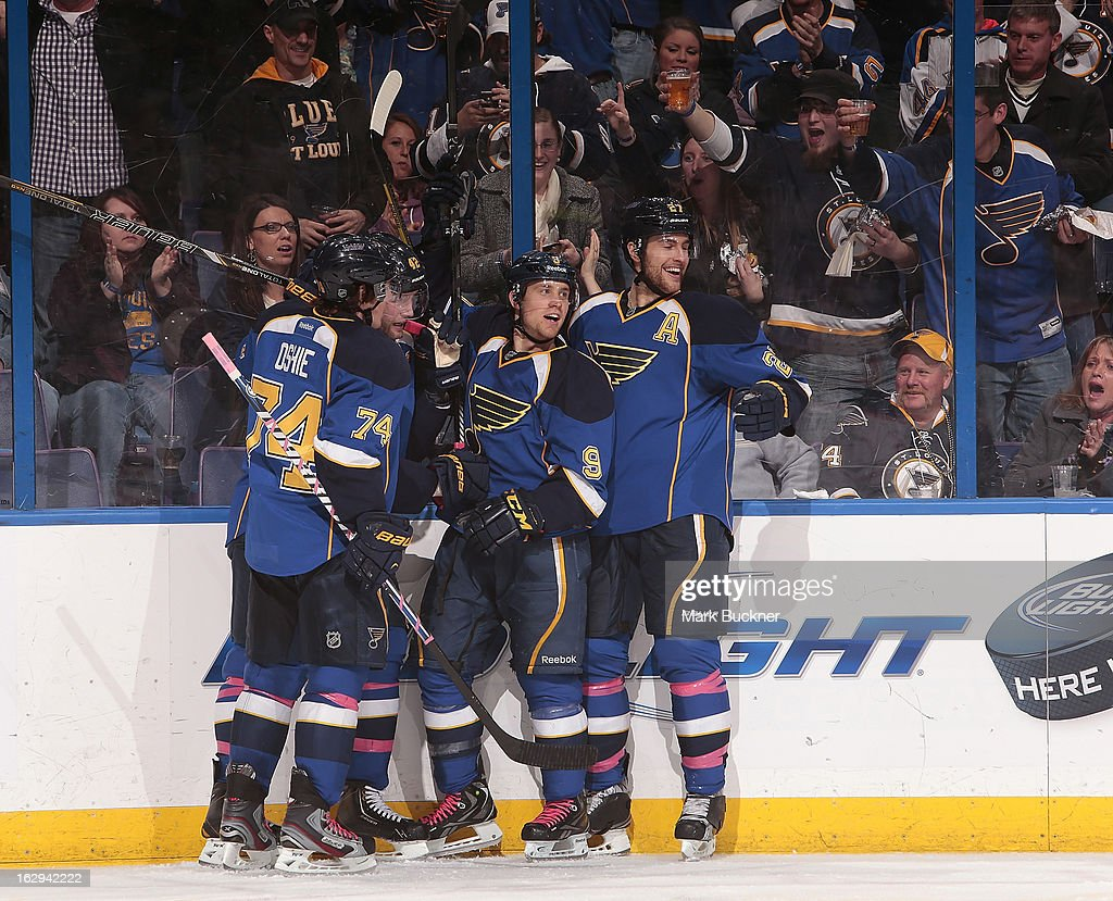 Jaden Schwartz #9 of the St. Louis Blues celebrates with teammates after scoring a goal in an NHL game against the Edmonton Oilers on March 1, 2013 at Scottrade Center in St. Louis, Missouri.