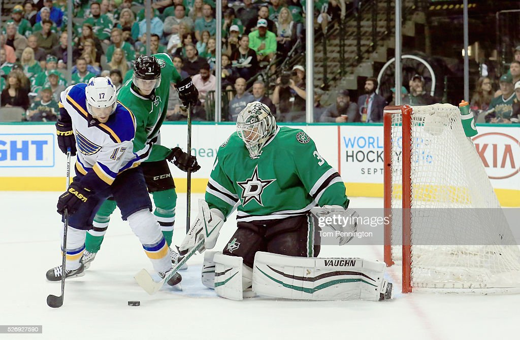Jaden Schwartz of the St Louis Blues controls the puck against Antti Niemi of the Dallas Stars in the second period in Game Two of the Western...