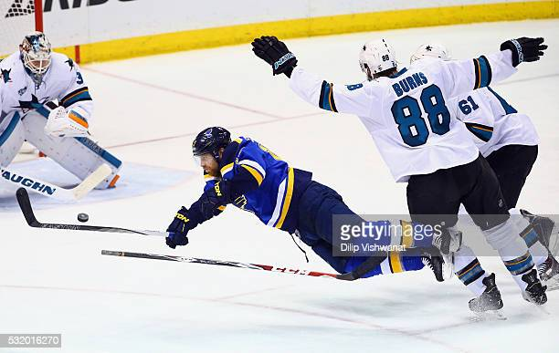 Jaden Schwartz of the St Louis Blues falls to the ice during the second period against the San Jose Sharks in Game Two of the Western Conference...