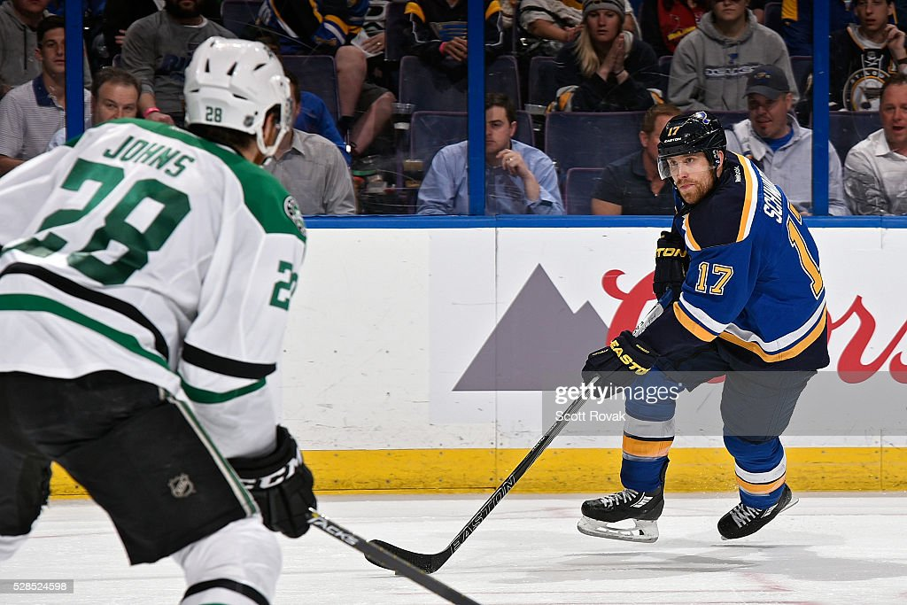 <a gi-track='captionPersonalityLinkClicked' href=/galleries/search?phrase=Jaden+Schwartz&family=editorial&specificpeople=7029354 ng-click='$event.stopPropagation()'>Jaden Schwartz</a> #17 of the St. Louis Blues handles the puck as <a gi-track='captionPersonalityLinkClicked' href=/galleries/search?phrase=Stephen+Johns&family=editorial&specificpeople=7029378 ng-click='$event.stopPropagation()'>Stephen Johns</a> #28 of the Dallas Stars defends in Game Four of the Western Conference Second Round during the 2016 NHL Stanley Cup Playoffs at the Scottrade Center on May 5, 2016 in St. Louis, Missouri.