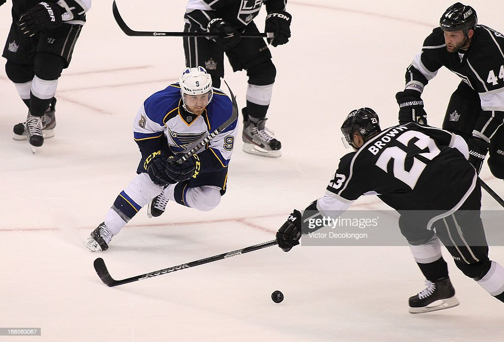 Jaden Schwartz #9 of the St. Louis Blues plays the puck past Dustin Brown #23 of the Los Angeles Kings in the first period during Game Six of the Western Conference Quarterfinals during the 2013 NHL Stanley Cup Playoffs at Staples Center on May 10, 2013 in Los Angeles, California. The Kings defeated the Blues 2-1 to win the series 4 games to 2 and advance to the Western Conference Semifinals.