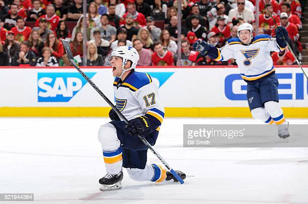 Jaden Schwartz of the St Louis Blues reacts after scoring against the Chicago Blackhawks in the third period of Game Three of the Western Conference...