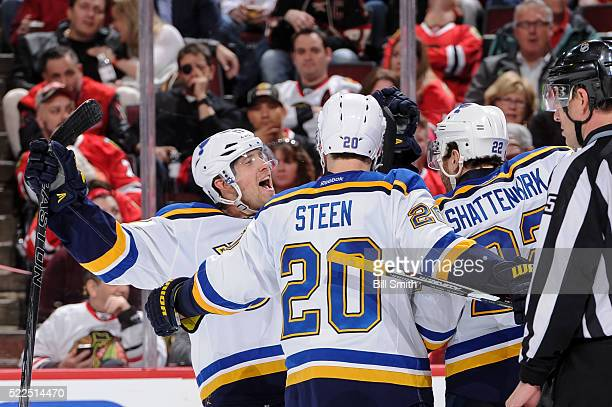 Jaden Schwartz of the St Louis Blues reacts after scoring against the Chicago Blackhawks in the third period of Game Four of the Western Conference...