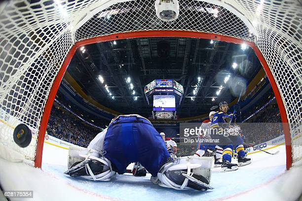 Jaden Schwartz of the St Louis Blues scores a gamewinning overtime goal against Al Montoya of the Montreal Canadiens at the Scottrade Center on...