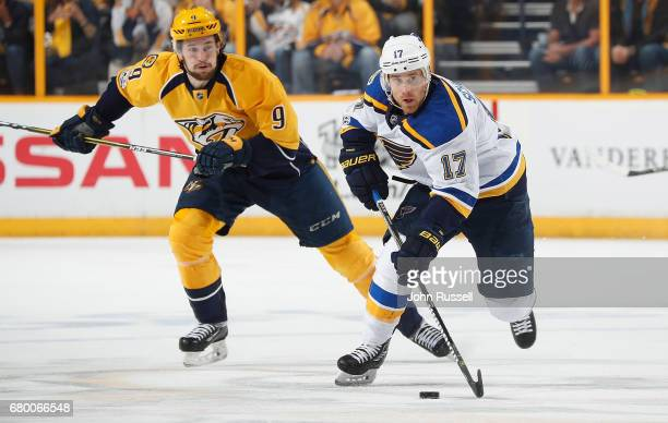 Jaden Schwartz of the St Louis Blues skates against Filip Forsberg of the Nashville Predators in Game Six of the Western Conference Second Round...