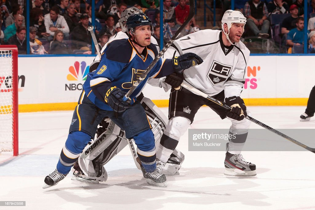 <a gi-track='captionPersonalityLinkClicked' href=/galleries/search?phrase=Jaden+Schwartz&family=editorial&specificpeople=7029354 ng-click='$event.stopPropagation()'>Jaden Schwartz</a> #9 of the St. Louis Blues skates against <a gi-track='captionPersonalityLinkClicked' href=/galleries/search?phrase=Rob+Scuderi&family=editorial&specificpeople=228124 ng-click='$event.stopPropagation()'>Rob Scuderi</a> #7 of the Los Angeles Kings in Game Two of the Western Conference Quarterfinals during the 2013 NHL Stanley Cup Playoffs on May 2, 2013 at Scottrade Center in St. Louis, Missouri.