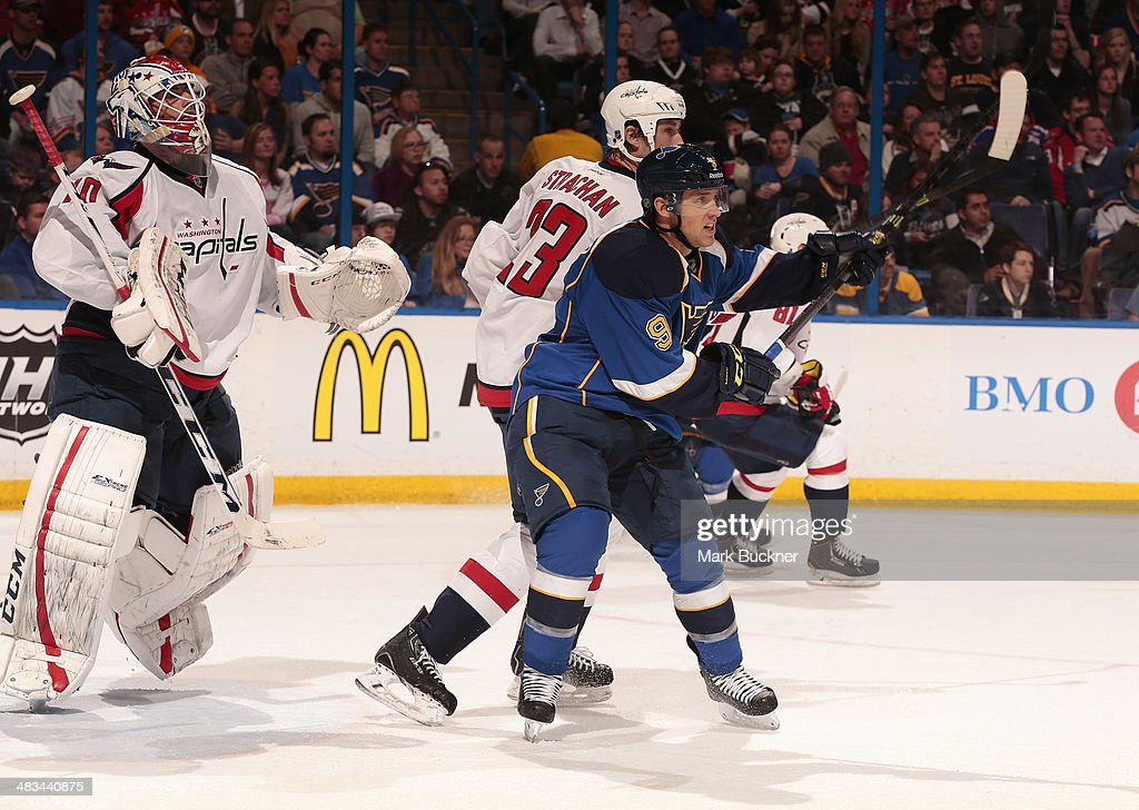 <a gi-track='captionPersonalityLinkClicked' href=/galleries/search?phrase=Jaden+Schwartz&family=editorial&specificpeople=7029354 ng-click='$event.stopPropagation()'>Jaden Schwartz</a> #9 of the St. Louis Blues skates against <a gi-track='captionPersonalityLinkClicked' href=/galleries/search?phrase=Tyson+Strachan&family=editorial&specificpeople=5646502 ng-click='$event.stopPropagation()'>Tyson Strachan</a> #23 of the Washington Capitals during an NHL game on April 8, 2014 at Scottrade Center in St. Louis, Missouri.