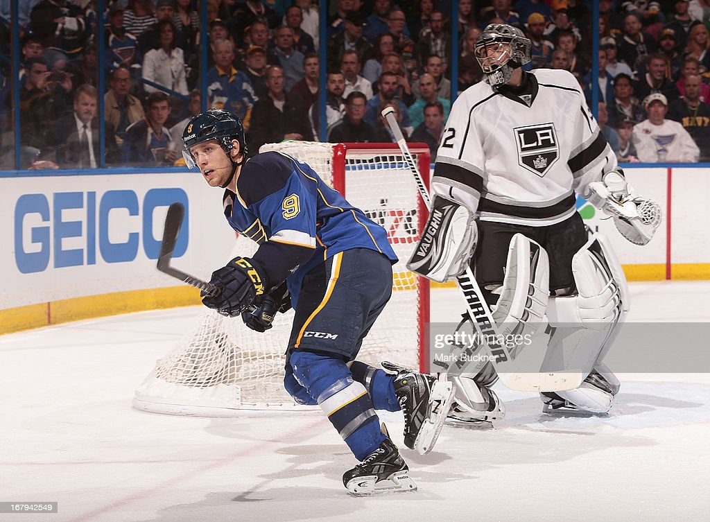 <a gi-track='captionPersonalityLinkClicked' href=/galleries/search?phrase=Jaden+Schwartz&family=editorial&specificpeople=7029354 ng-click='$event.stopPropagation()'>Jaden Schwartz</a> #9 of the St. Louis Blues skates past <a gi-track='captionPersonalityLinkClicked' href=/galleries/search?phrase=Jonathan+Quick&family=editorial&specificpeople=2271852 ng-click='$event.stopPropagation()'>Jonathan Quick</a> #32 of the Los Angeles Kings in Game Two of the Western Conference Quarterfinals during the 2013 NHL Stanley Cup Playoffs on May 2, 2013 at Scottrade Center in St. Louis, Missouri.