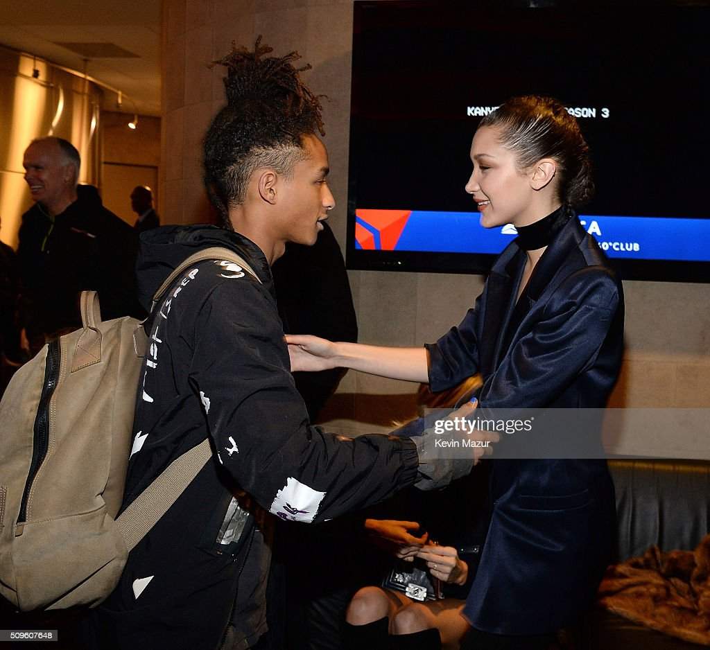 <a gi-track='captionPersonalityLinkClicked' href=/galleries/search?phrase=Jaden+Smith&family=editorial&specificpeople=709174 ng-click='$event.stopPropagation()'>Jaden Smith</a> and <a gi-track='captionPersonalityLinkClicked' href=/galleries/search?phrase=Bella+Hadid&family=editorial&specificpeople=7245032 ng-click='$event.stopPropagation()'>Bella Hadid</a> attend Kanye West Yeezy Season 3 at Madison Square Garden on February 11, 2016 in New York City.