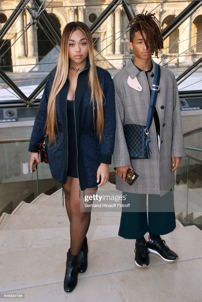 Jaden Smith (R) and guest attend the Louis Vuitton show as part of the Paris Fashion Week Womenswear Fall/Winter 2017/2018 on March 7, 2017 in Paris, France.