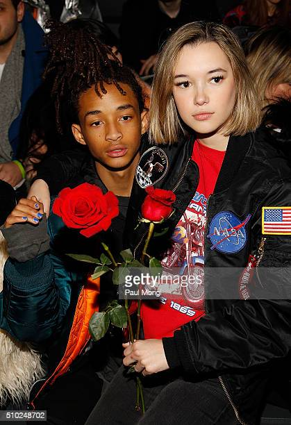 Jaden Smith and his girlfriend Sarah Snyder attend the Hood By Air 2016 fashion show on February 14 2016 in New York City