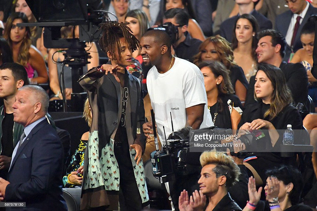 Jaden Smith and Kanye West attend the 2016 MTV Video Music Awards at Madison Square Garden on August 28 2016 in New York City