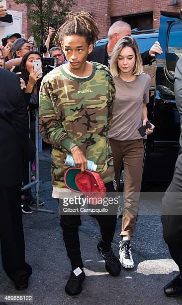 Jaden Smith and Sarah Snyder are seen arriving at Kanye West Yeezy Season 2 during Spring 2016 New York Fashion Week at Skylight Modern on September...