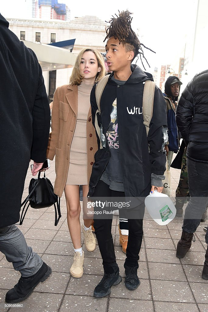 <a gi-track='captionPersonalityLinkClicked' href=/galleries/search?phrase=Jaden+Smith&family=editorial&specificpeople=709174 ng-click='$event.stopPropagation()'>Jaden Smith</a> and <a gi-track='captionPersonalityLinkClicked' href=/galleries/search?phrase=Sarah+Snyder+-+Mannequin&family=editorial&specificpeople=15052759 ng-click='$event.stopPropagation()'>Sarah Snyder</a> are seen arriving at Yeezy fashion show during Fall 2016 New York Fashion Week at Skylight Moynihan Station on February 11, 2016 in New York City.