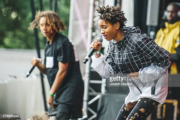 Jaden Smith and Willow Smith perform on day 3 of the New Look Wireless Festival at Finsbury Park on July 5 2015 in London England