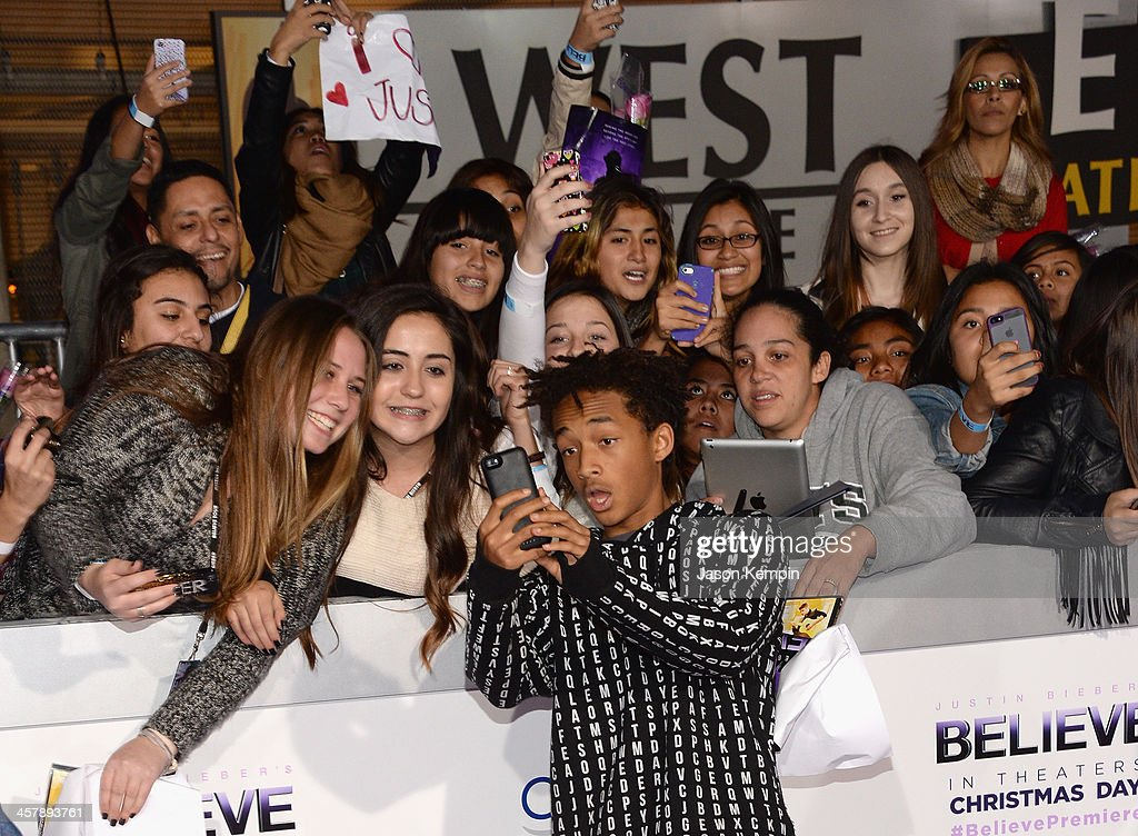 <a gi-track='captionPersonalityLinkClicked' href=/galleries/search?phrase=Jaden+Smith&family=editorial&specificpeople=709174 ng-click='$event.stopPropagation()'>Jaden Smith</a> attends the premiere of Open Road Films' 'Justin Bieber's Believe' at Regal Cinemas L.A. Live on December 18, 2013 in Los Angeles, California.