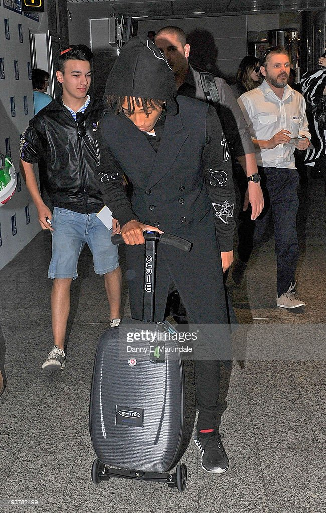 <a gi-track='captionPersonalityLinkClicked' href=/galleries/search?phrase=Jaden+Smith&family=editorial&specificpeople=709174 ng-click='$event.stopPropagation()'>Jaden Smith</a> is seen leaving Florence Airport after Kim Kardashian And Kanye West's wedding on May 25, 2014 in Florence, Italy.