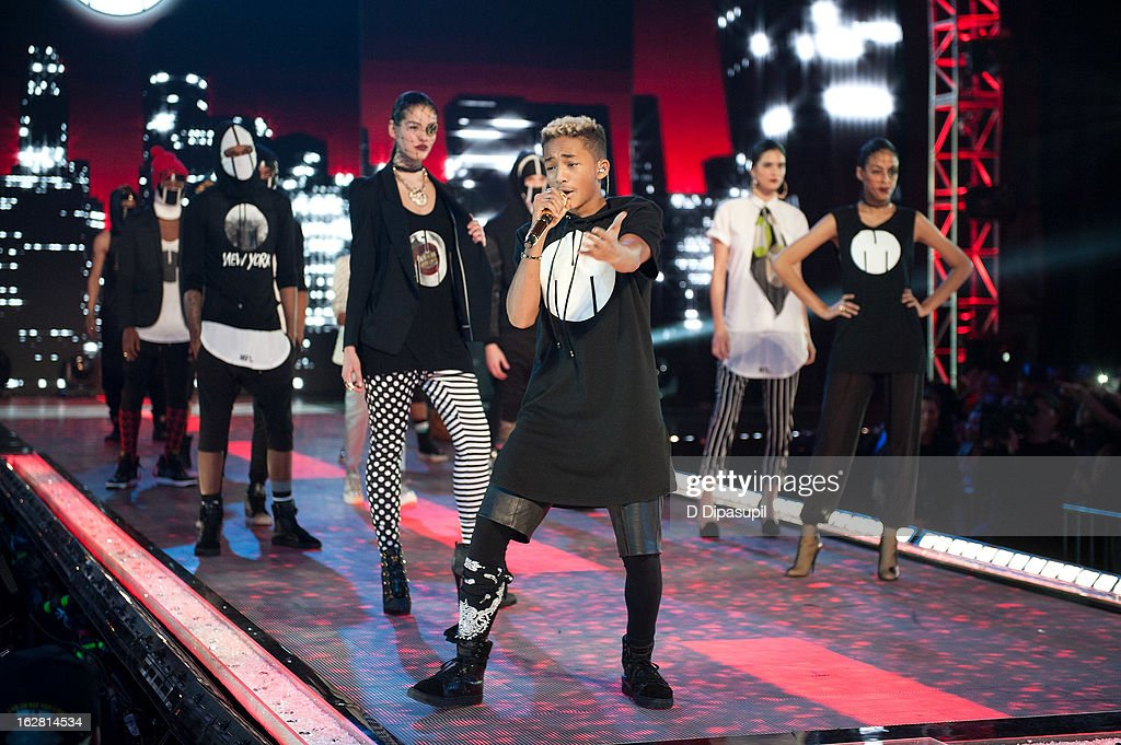 <a gi-track='captionPersonalityLinkClicked' href=/galleries/search?phrase=Jaden+Smith&family=editorial&specificpeople=709174 ng-click='$event.stopPropagation()'>Jaden Smith</a> (C) performs during BET's Rip The Runway 2013 at Hammerstein Ballroom on February 27, 2013 in New York City.