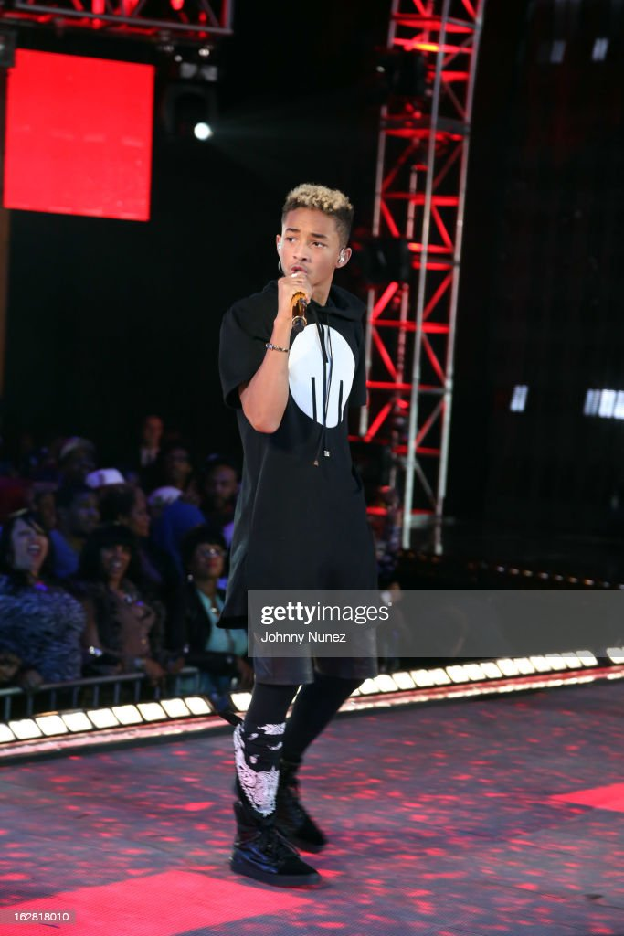 <a gi-track='captionPersonalityLinkClicked' href=/galleries/search?phrase=Jaden+Smith&family=editorial&specificpeople=709174 ng-click='$event.stopPropagation()'>Jaden Smith</a> performs during BET's Rip The Runway 2013 at Hammerstein Ballroom on February 27, 2013, in New York City.