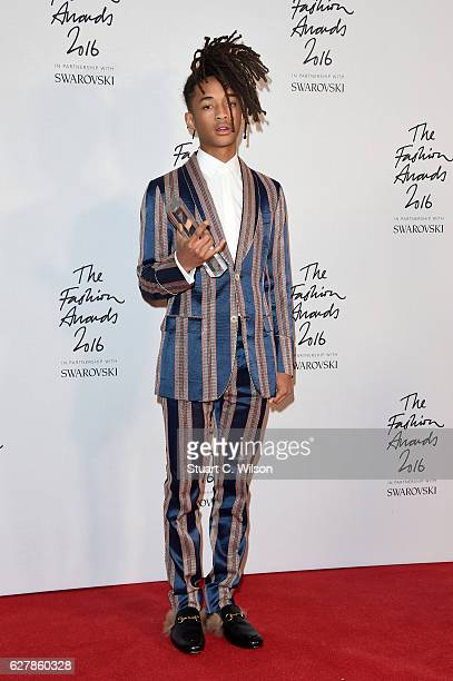 Jaden Smith poses in the winners room after winning the New Fashion Icon Award at The Fashion Awards 2016 at Royal Albert Hall on December 5 2016 in...