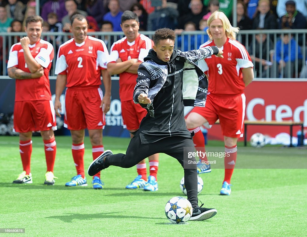 <a gi-track='captionPersonalityLinkClicked' href=/galleries/search?phrase=Jaden+Smith&family=editorial&specificpeople=709174 ng-click='$event.stopPropagation()'>Jaden Smith</a> takes a penalty during UEFA's Champions Festival which comes to London to coincide with Wembley hosting the Champions League final at Queen Elizabeth Olympic Park on May 25, 2013 in London, England.