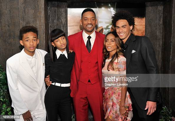 Jaden Smith Willow Smith Will Smith Jada Pinkett Smith and Trey Smith attend the 'After Earth' premiere at Ziegfeld Theater on May 29 2013 in New...