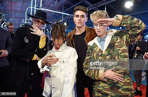 Jaden Smith with Jack and Jack and guest at the MTV Europe Music Awards 2016 on November 6 2016 in Rotterdam Netherlands