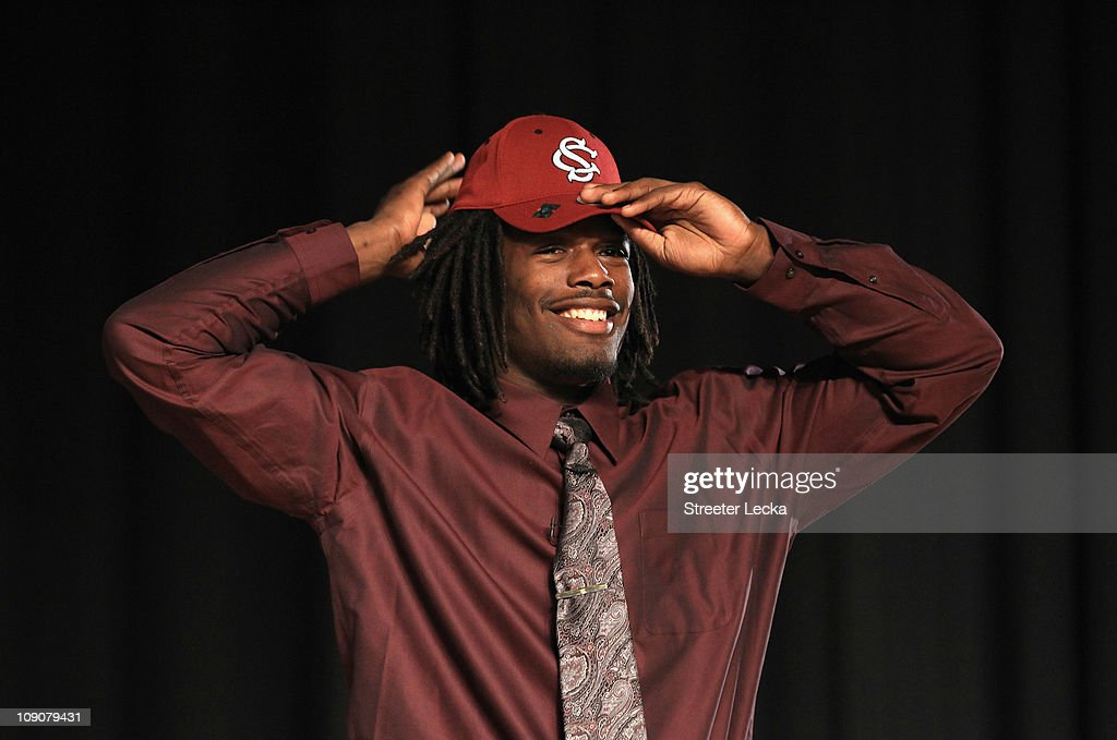 Jadeveon Clowney announces his college football commitment to the University of South Carolina Gamecocks during a press conference at South Pointe...