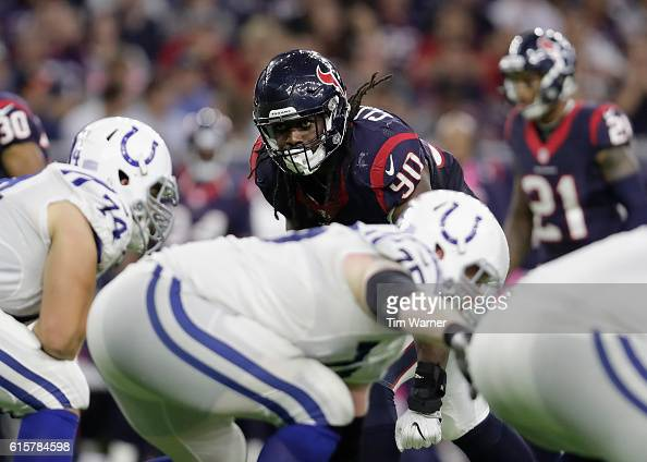Jadeveon Clowney of the Houston Texans lines up on the line of scrimmage in the fourth quarter during the NFL game between the Indianapolis Colts and...