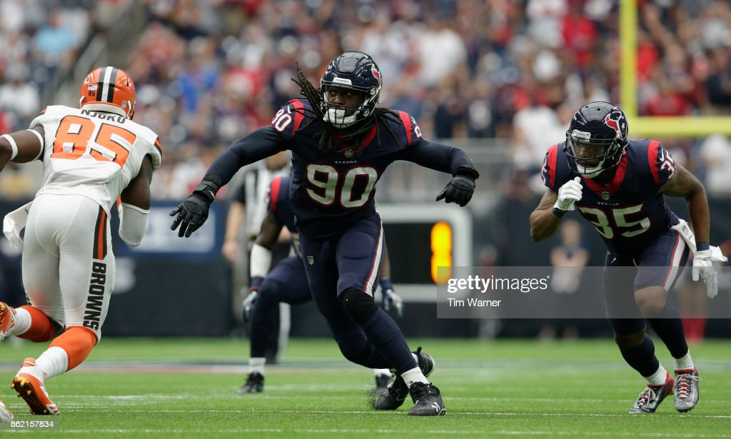 Jadeveon Clowney #90 of the Houston Texans rushes the quarterback in the second quarter against the Cleveland Browns at NRG Stadium on October 15, 2017 in Houston, Texas.