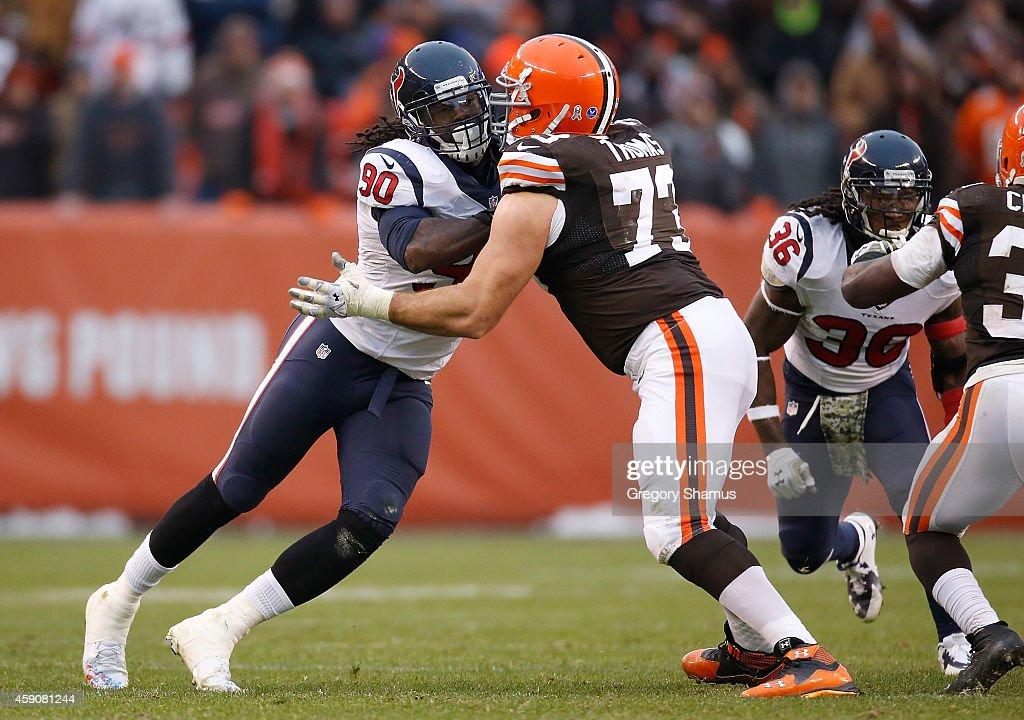 Jadeveon Clowney of the Houston Texans tries to get past Joe Thomas of the Cleveland Browns during the fourth quarter at FirstEnergy Stadium on...