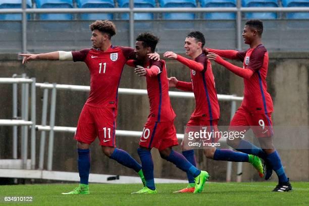 Jadon Malik Sancho Angel Gomes Philip Foden Rhian Brewster of England U17 celebrate a goal during the U17 Algarve Cup Tournament Match between...