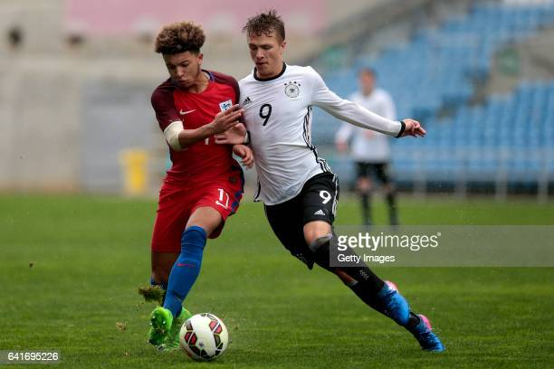 Jadon Malik Sancho of England U17 challenges JannFiete Arp of Germany U17 during the U17 Algarve Cup Tournament Match between England U17 and Germany...