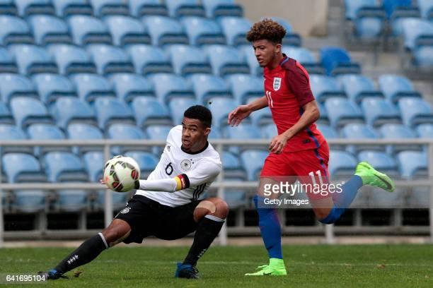 Jadon Malik Sancho of England U17 challenges JeanManuel Mbom of Germany U17 during the U17 Algarve Cup Tournament Match between England U17 and...