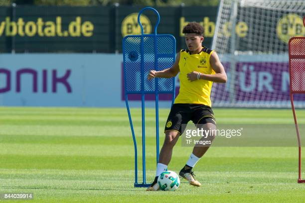 Jadon Sancho of Dortmund controls the ball during a training session at the BVB Training center on September 4 2017 in Dortmund Germany