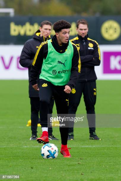 Jadon Sancho of Dortmund controls the ball during a training session at BVB trainings center on November 5 2017 in Dortmund