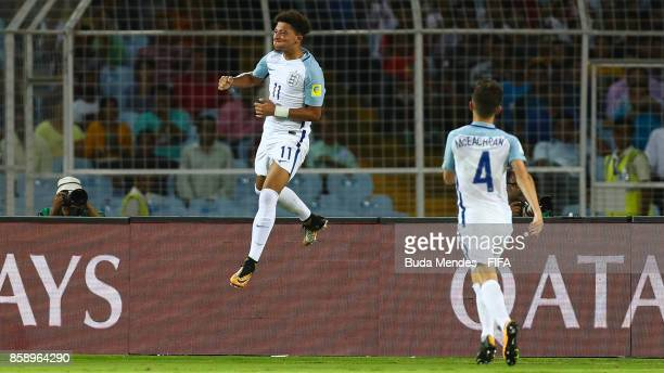 Jadon Sancho of England celebrates a scored goal during the FIFA U17 World Cup India 2017 group F match between Chile and England at Vivekananda Yuba...
