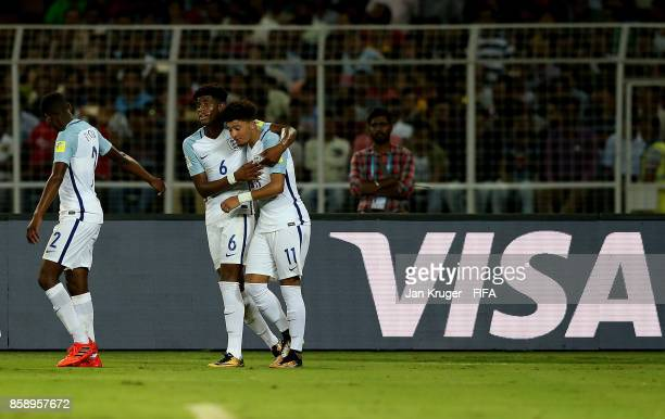 Jadon Sancho of England celebrates his goal with team mates during the FIFA U17 World Cup India 2017 group F match between Chile and England at...