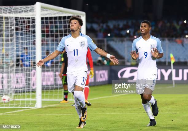Jadon Sancho of England celebrates with Rhian Brewster a scored goal during the FIFA U17 World Cup India 2017 group F match between England and...
