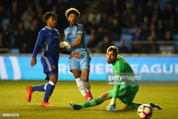 Jadon Sancho of Manchester City shoots during the FA Youth Cup Final First Leg match between Manchester City and Chelsea at The Academy Stadium on...