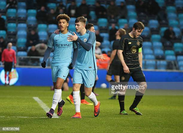 Jadon Sancho of Manchester CityUner 19s celebrates his goal during U19 UEFA Youth League match between Manchester City Under 19s against Celtic Under...